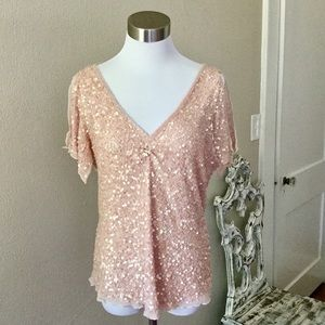 Adrianna Papell Boutique Sequin Beaded Top XL